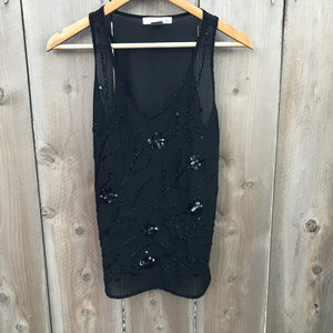 WD.NY Black Floral Sequin Sparkle Semi Sheer Tank